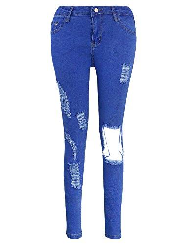 Burvogue Da Donna Blu Denim Jeans Skinny pantaloni Distressed Blue 2