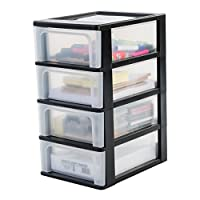 Iris Ohyama Europe A- Chest with 4 (Without Wheels), Tower Unit six, Drawer Organiser, Plastic Office drawers-OCH-2004, Black, 35,5 x 26 x 49cm (LxWxH)