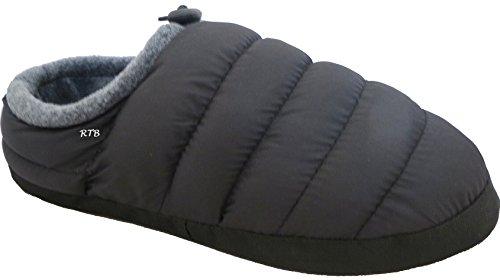 RTB – Chaussons unisexes matelassés chauds, doublure polaire Noir