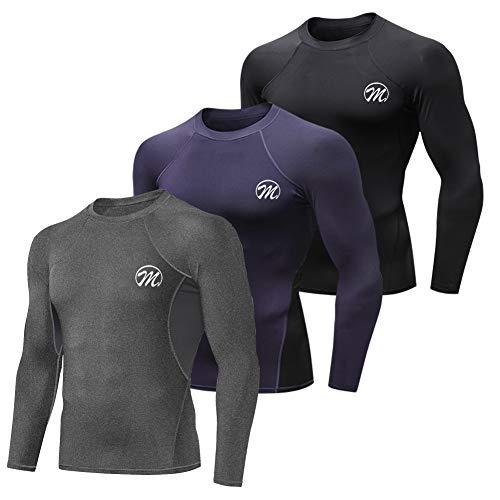 MEETWEE Herren Kompressionsshirt Funktionsshirt Langarm, Atmungsaktives Sportshirt Laufshirt fürMänner (Schwarz+Blau+Grau, XL)