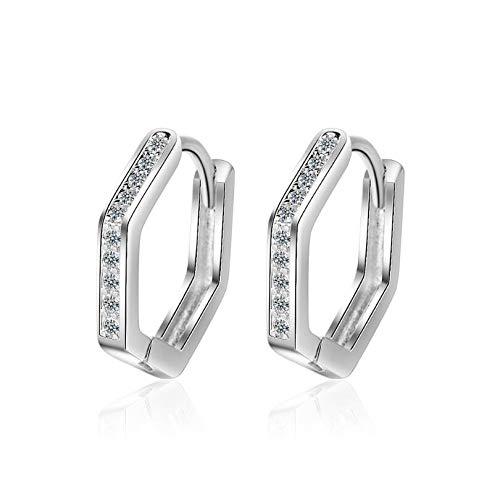 WANGJIA Pentagon Zirkon Geometrische Ohrringe Für Frauen Männer Trend Kreative 925 Sterling Silber Schmuck Party Geschenk Silber