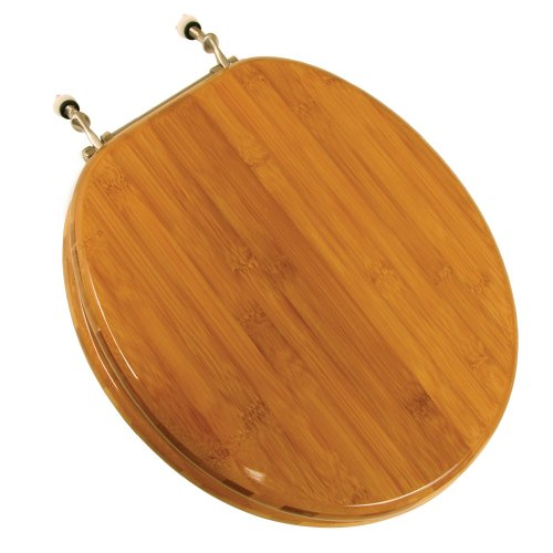 comfort-seats-c1b2r220bn-wood-round-toilet-seat-with-brushed-nickel-hinges-rattan-bamboo-by-comfort-