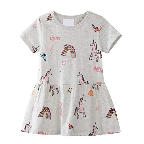 Vestido De Las Niñas De Los Niños De Manga Corta De Algodón De Dibujos Animados Animal Applique Unicorn Patrón Vestido De Niña Pequeña Camiseta De Algodón 1-8 Años (Gris)