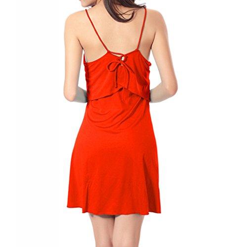 Damen Sommer Strandkleid sexy Bikini Cover Up Seaside Holidaykleider Sun-Hemd Rot