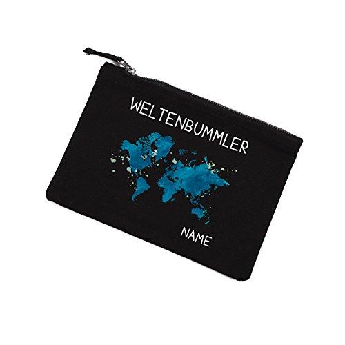 Herz & Heim® Kosmetiktasche - Weltenbummler - mit Ihrem Namen black edition