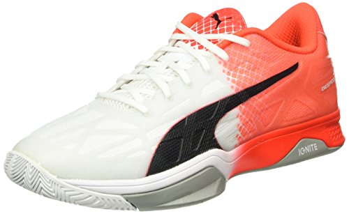 Puma Evospeed Indoor 1.5, Chaussures de Fitness Mixte Adulte Blanc - Weiß (White-Black-Red blast 02)