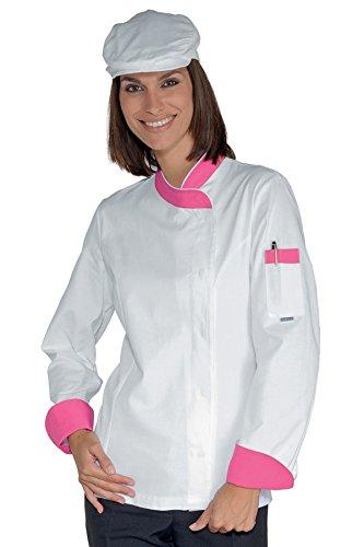 057786 Giacca Lady Snaps - Isacco Bianco+Fuxia per Abbigliamento per la cucina per Divise ufficiali Federazione Italiana Cuochi FIC Donna Giacche