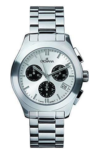 GROVANA 5096.9132 Unisex Quartz Swiss Watch with White Dial Chronograph Display and Silver Stainless Steel Bracelet