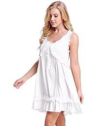 53e877098fdd1b NORA TWIPS Viskose Nachthemd Damen, Sleepshirt Damen, Nachtwäsche Damen,  Nachtkleid Sommer, Ärmellos…