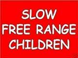 Online Design Schild Warnung Slow Free Range Children - Türkis