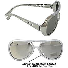 Gafas de sol con lentes reflectantes, estilo retro inspirado en Elvis, color plata