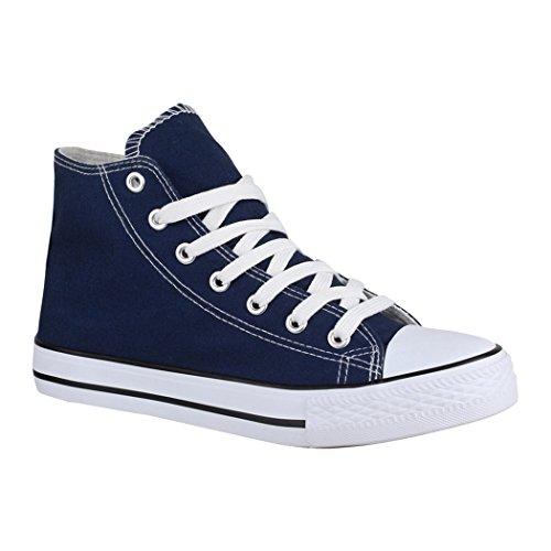 Elara Unisex Sneaker | Bequeme Sportschuhe für Damen und Herren | Low top Turnschuh Textil Schuhe 014-A-XG201 Navy-37 Army Navy Schuhe