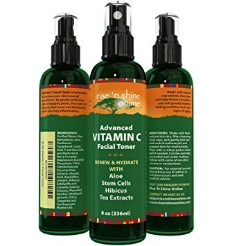 (8 oz) Vitamin C Facial Toner Spray with Aloe Vera, Green Tea Extract, Vitamin B5, Vitamin C and Vitamin E - Advanced 100% All Natural Organic Anti Aging Pore Minimizer for Face Skin and Neck
