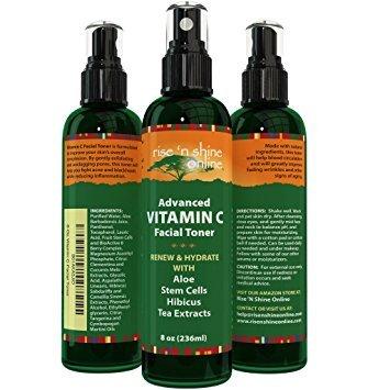 Rise 'N Shine Online Vitamin C Gesichtswasser mit Aloe Vera Extrakt aus Grünem Tee Vitamin B5, Vitamin C und Vitamin E (236ml)