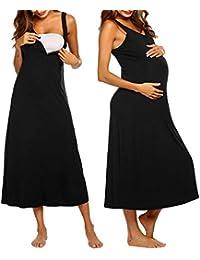 3694dda6d MAXMODA Camisón Embarazada Maternidad Lactancia Pijama Sin Mangas Corta  Vestido Primavera Verano Mujer Embarazada Ropa para