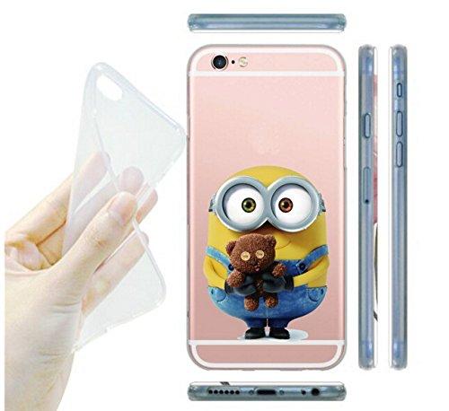 Coque iPhone 6s / Minions couvercle de gel de bande dessinée pour Apple iPhone 6s 6 / protecteur d'écran et écran chiffon par iCHOOSE / ours prise Tenant L'ours