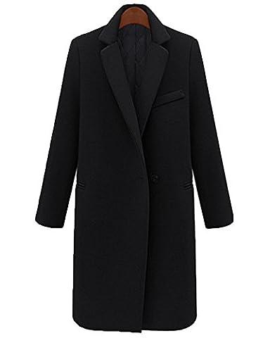 Damen Elegante Mäntel Revers Lange Ärmel Mode Trenchcoat Warme Jacke Schwarz Verdicken M