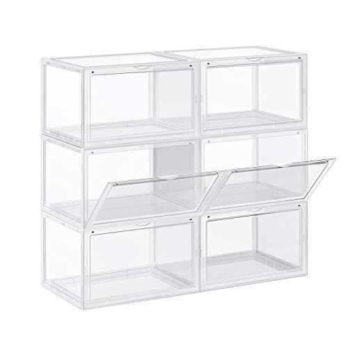 SONGMICS Schuhbox, 6er Set, stapelbarer Schuhorganizer, Kunststoffbox mit durchsichtiger Tür, Schuhaufbewahrung, für Schuhe bis Größe 46, 36 x 28 x 22 cm, transparent LSP06CW