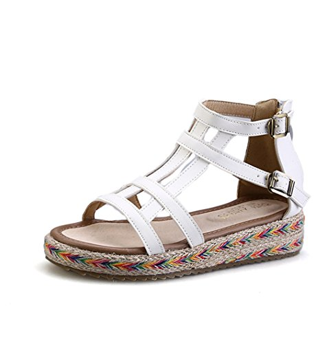 Damen Moderne Roman Sandalen Knöchelriemen Dick Sohle Anti-Rutsch Leichtgewicht Antmunsaktive Sommer Schuhe Weiß