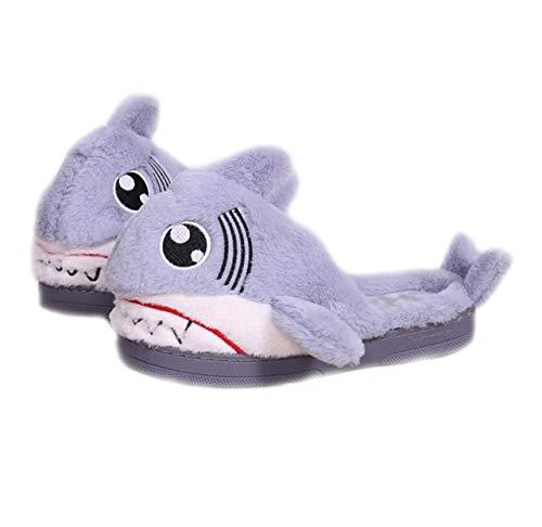 (YILANLAN Tier Hausschuhe Hai Kopf Baumwolle Hausschuhe Bottom 3D Tierkopf Plüsch Baumwolle Hausschuhe Hai Schuhe (38-39 /EUR, Grey))