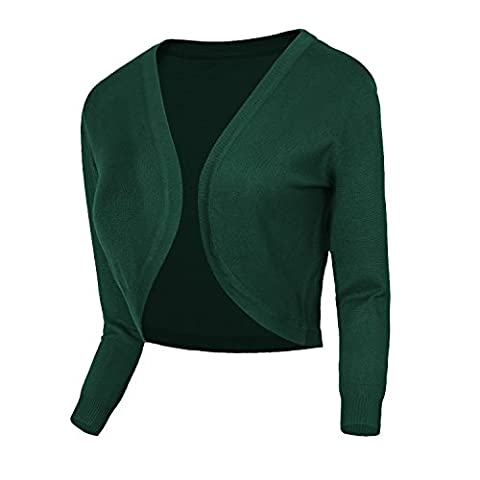 Urban GoCo Femmes Cardigan en Tricot Pull à Manches 3/4 en V-Col Boléro Blouson Gilet Avec Boutons (XL, #2 Vert foncé)