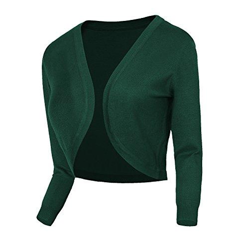 Damen V-Ausschnitt Kurz-Strickweste Strickjacke 3/4 Ärmel (M, #2 dunkelgrün) (1 Knopf Schal)