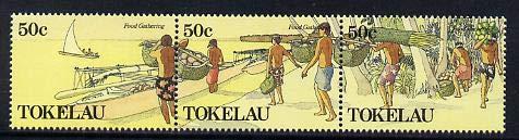 Tokelau 1989 Food Gathering perf set of 6 (two strips of 3) u/m SG 171-76 FISHING CRAFTS CANOES JandRStamps -