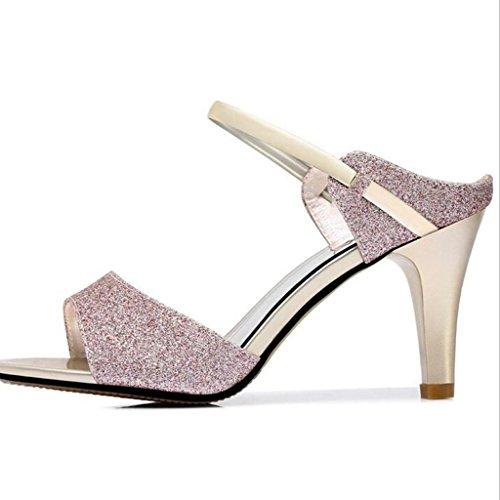 W&LM Signorina Tacco alto sandali Scarpe di bocca di pesce sandali scarpe casual ciabatte infradito Tacchi alti Purple