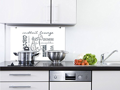 schutz Küchenrückwand Herd Spüle Cocktail Glas Weiß Grau für Küche (80x50cm) (Günstige Martini-gläser)