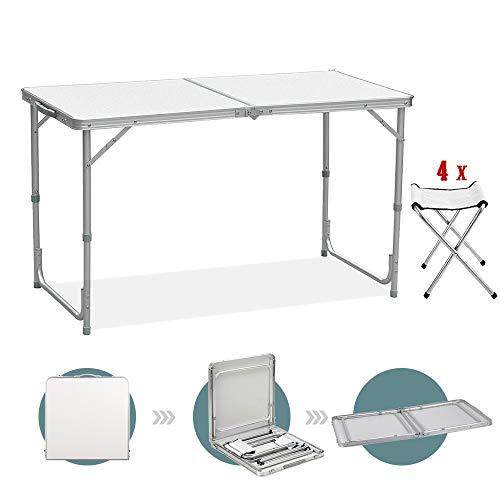 Sunreal Mesa de Camping Plegable de 122 cm, Altura Ajustable, Ultraligera,...