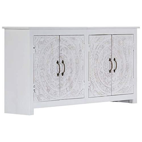 Festnight- Holz Sideboard in Weiß Kommode Schrank aus Massivholz Akazie für Küche Schlafzimmer Esszimmer Wohnzimmer - Handgefertigt Weiß 140×30×70 cm