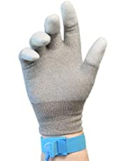 Otovon® [2 Pairs] ESD Anti Static Top Fit Finger PU Coated Hand Gloves, Size - M