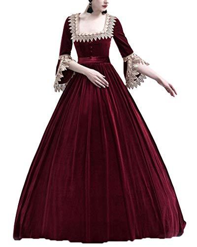 miglior posto per nuovo stile di arte squisita Kasen Mujeres Vintage Elegante Encaje Vestido Fiesta Halloween Apriete La  Cintura Maxi Disfraz Vino Rojo L