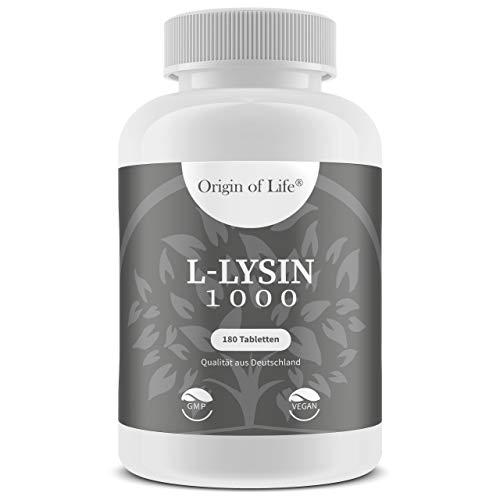 Doppelte Stärke 180 Kapseln (L-LYSIN 1000 180 Tabletten a 1000mg | hochdosiert & vegan für 180 Tage / 6 Monate | essentielle Aminosäure | Hergestellt in Deutschland)