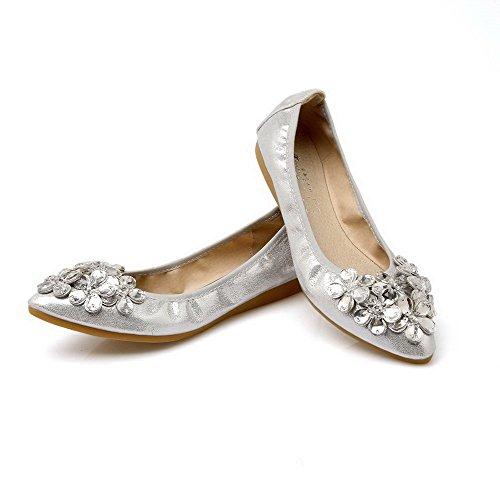 AalarDom Damen Weiches Material Rein Spitz Zehe Ziehen Auf Pumps Schuhe Silber-Pu Leder
