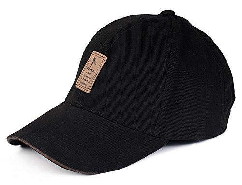 Baseball Mütze für Erwachsene Baumwolle Mütze mit Leder Aufkleber Geeignet für Frühjahr Sommer und Herbst, Schwarz