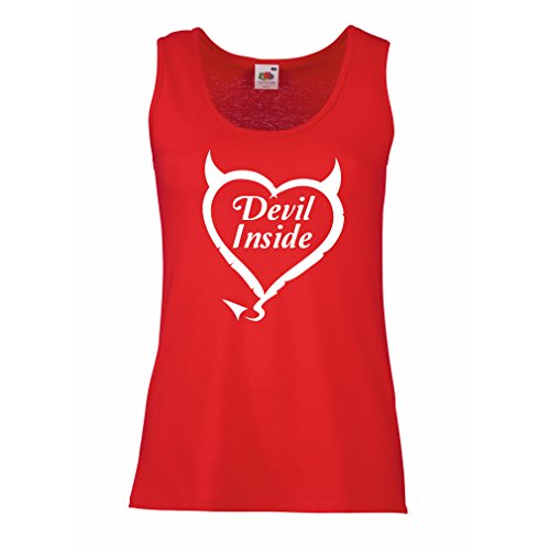 Top Devil Inside Devil Kostüme Lustige Kleidung, Geschenke für Gamer, Cooler Slogan (Large Rot Weiß) (White Lion Kostüm)