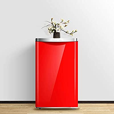 refrigerator Single door, freezer, 72L, retro small, energy efficient home, silent cooling, white/red, 45x48x69cm