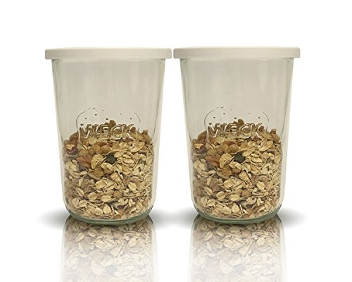 Weck Sturzgläser Set | 24 teilig | Füllmenge 850 ml 3/4 liter | 12 Sturzgläser & 12 Frischhaltedeckel 100 mm | Einkochgläser | Ideal für Sonnenblumenkerne Kürbiskerne Müsli Kandis Bonbons (Sonnenblumenkerne Joghurt)