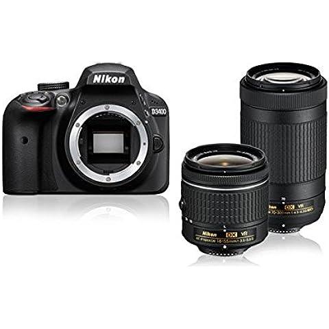 Nikon D3400 + AF-P DX NIKKOR 18-55mm VR + AF-P DX NIKKOR 70-300mm f/4.5-6.3G ED VR 24.2MP CMOS 6000 x 4000Pixeles Negro - Cámara digital (Auto, Nublado, Direct sunlight, Flash, Fluorescente, Incandescente, Sombra, Paisaje, Retrato, Neutral, Vivo, Electrónico, Óptico, Corriente alterna, Batería, Juego de cámara SLR)