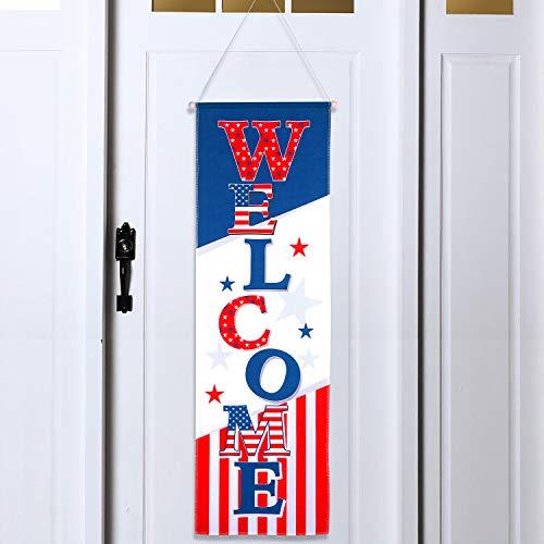 mmensschild Patriotisch Amerikas zum Aufhängen Unabhängigkeitstag Banner Party Dekoration 4. Juli Türschild für Veteranen Day Militär Homecoming ()