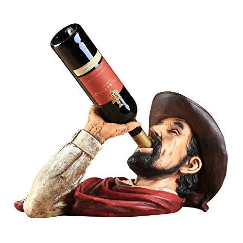 JUKUB Simulierter Cowboy Kopf Porträt Geformte Weinflaschen Halter Wein Regal-Regal Harz Skulptur...
