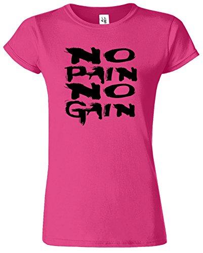 No Pain No Gain Körper Gebäude Ausbildung Neuheit-Damen T-Shirt Antique Heliconia / Schwarz Design