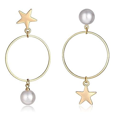 Beydodo Modeschmuck Vergoldet Damen Ohrhänger Sterne Süßwasser Perle Kreis Anhänger Ohrringe (Cool 2 Person Kostüme)
