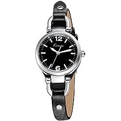 Alienwork Quartz Watch bracelet chain warp Wristwatch vintage elegant Leather black black YH.KW545S-01