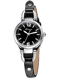 Alienwork Reloj cuarzo pulsera cadena envolver cuarzo vintage elegante Piel de vaca negro negro YH.KW545S-01