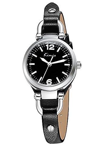 Alienwork Quarz Armbanduhr Armreif Kette wickeln Uhr Damen Uhren Mädchen elegant Leder schwarz