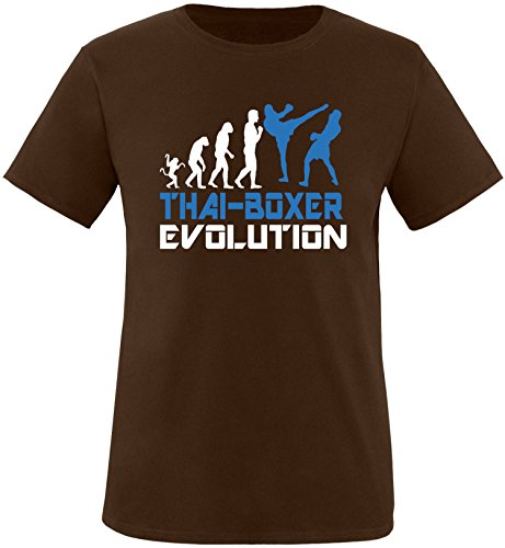 EZYshirt® Thai Boxing Evolution Herren Rundhals T-Shirt Braun/Weiss/Blau