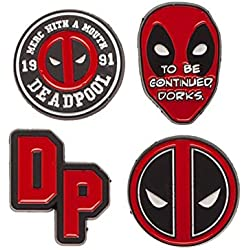 Bioworld - Marvel Comics - Deadpool - Set de Pin de Solapa de Esmalte de 4 Piezas