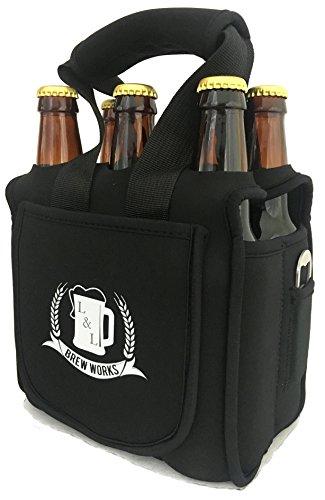 Locked & Loaded Brew Works L & L Brew Funktioniert Six Pack Craft Bier Carrier, Neopren Six Pack Caddy mit Flaschenöffner und Essentials Pocket Built Ny Six Pack Tote